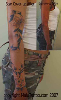 arm tattoo scar cover-up