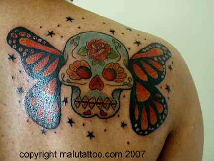Custom Color Tattoo Skullerfly