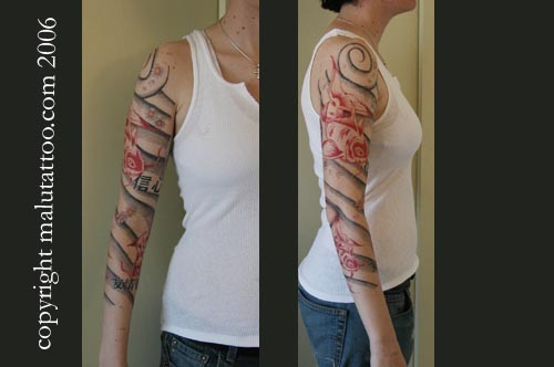 Color Tattoo Custom Sleeve Red Koi