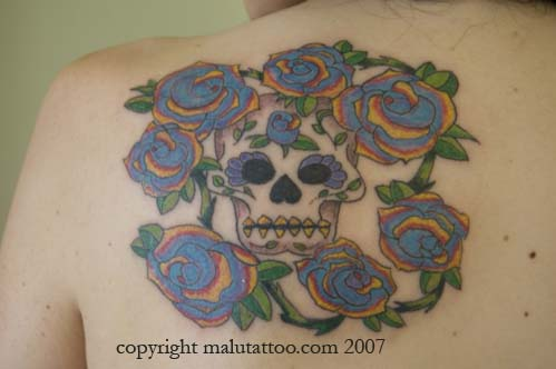 Color Tattoo Day of the Dead Skull and Roses