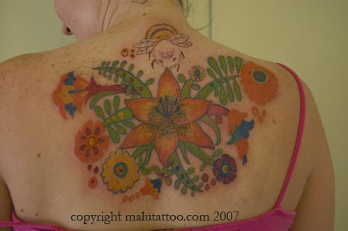 Color Tattoo Flowers and Bee