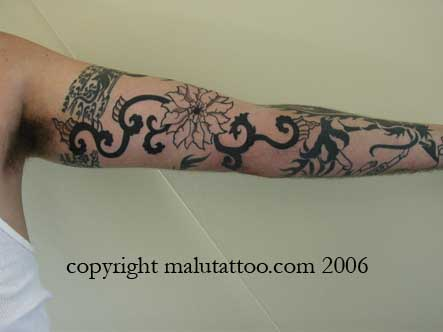 Tribal Tattoo American Arm of Flowers
